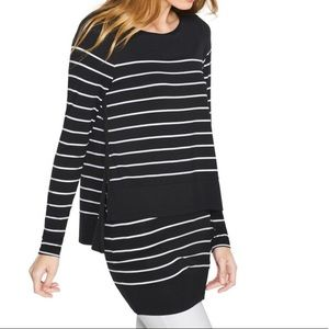 Whbm Double Layered Striped Top